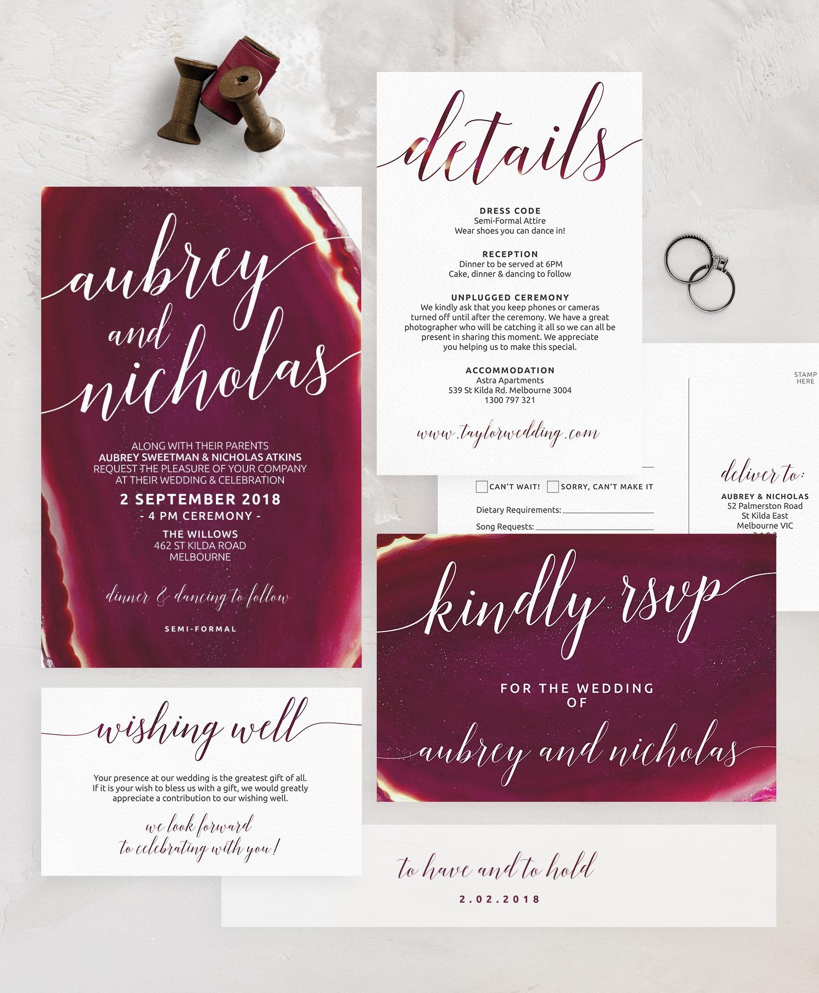 Burgundy Geode Agate Wedding Invitation Suite u The Printable Shop