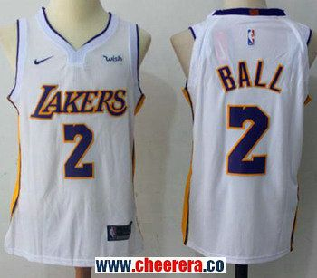 130a61812 Men s Nike Los Angeles Lakers  2 Lonzo Ball White NBA Swingman Association  Edition Jersey