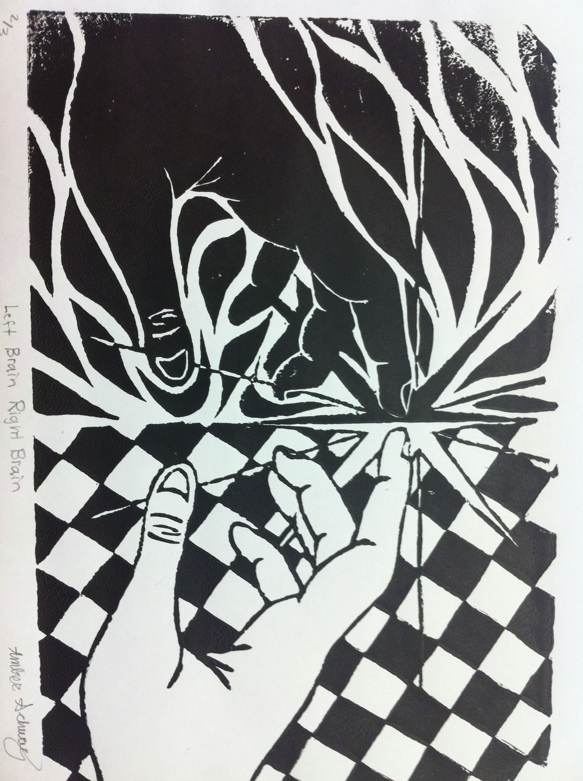 Symmetry prints using positive and negative space.