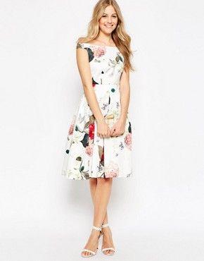 Ladies Flowers Botanic Print Dress Bardot Off Shoulder Mesh Cocktail