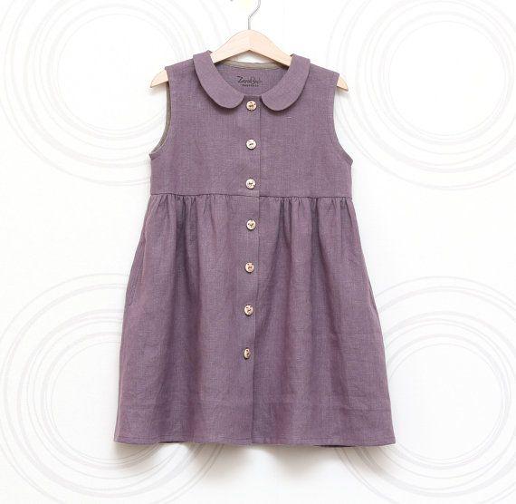 31f1ec7027bc Toddler girls linen dress - Peter Pan collar