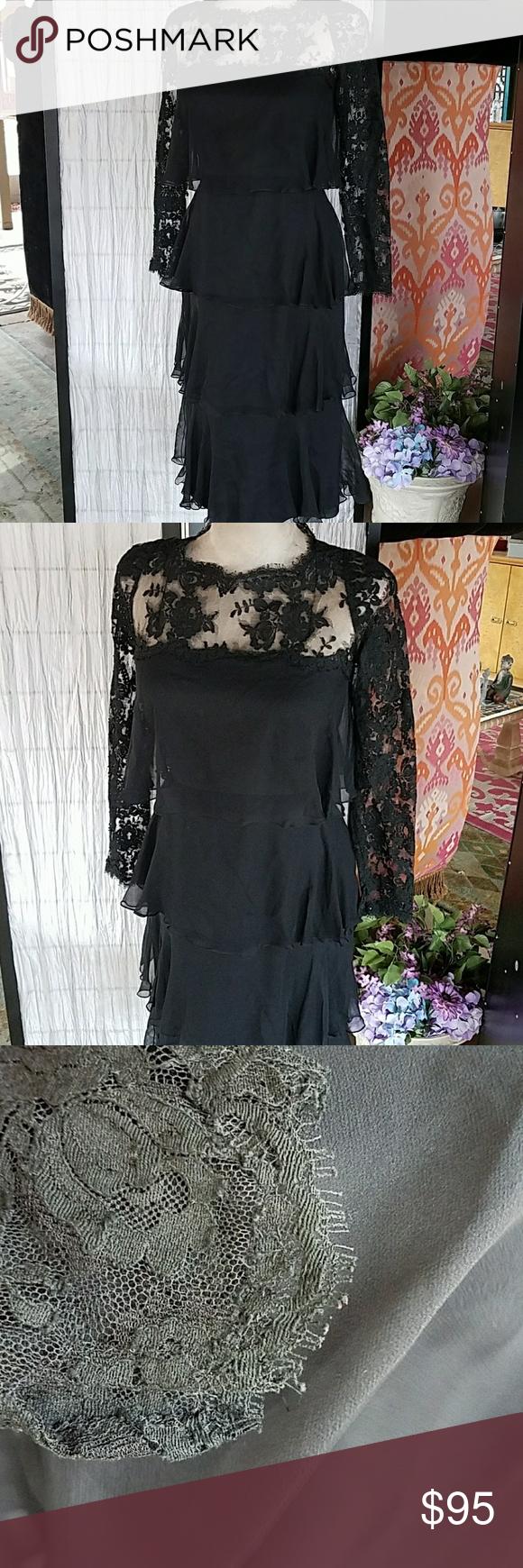 Vintage Lace Silk dress Formal Cocktail sz SM 4 xs Beautiful vintage dress size ...