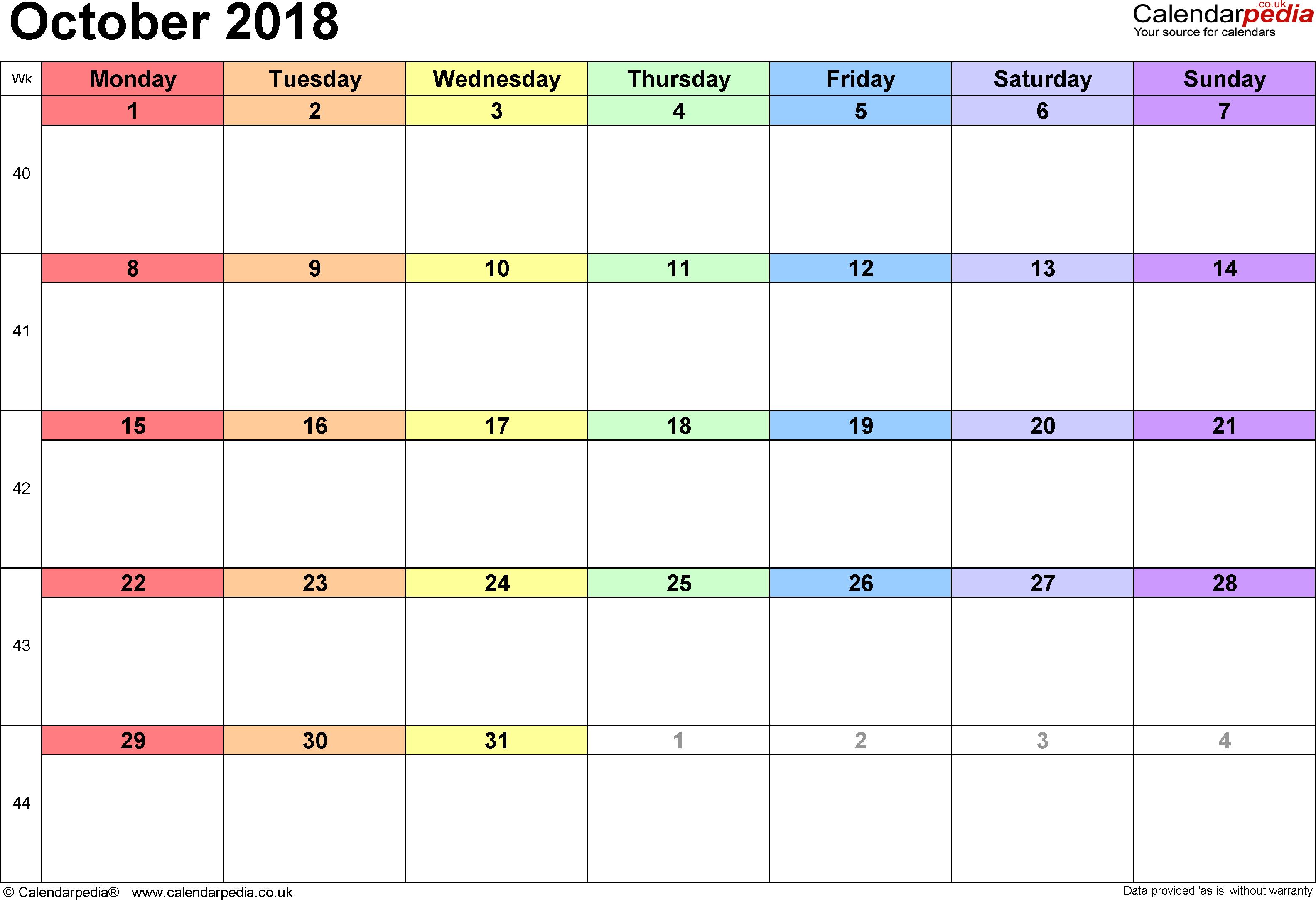 october 2018 calendar malaysia holidays