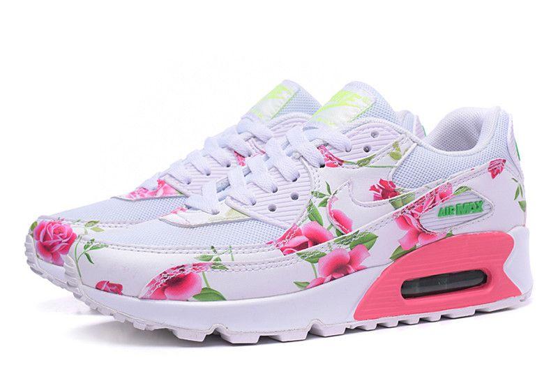 reputable site ece1c 206a7 Nike Air Max 90 Chaussures Pour Femmes Blanc Fleur Rose Nouveau Pic sortie  livraison rapide fourniture