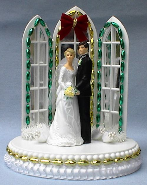 Christmas Wedding Cake Toppers.Wedding Cake Topper Christmas Cathedral Window Arch Themed