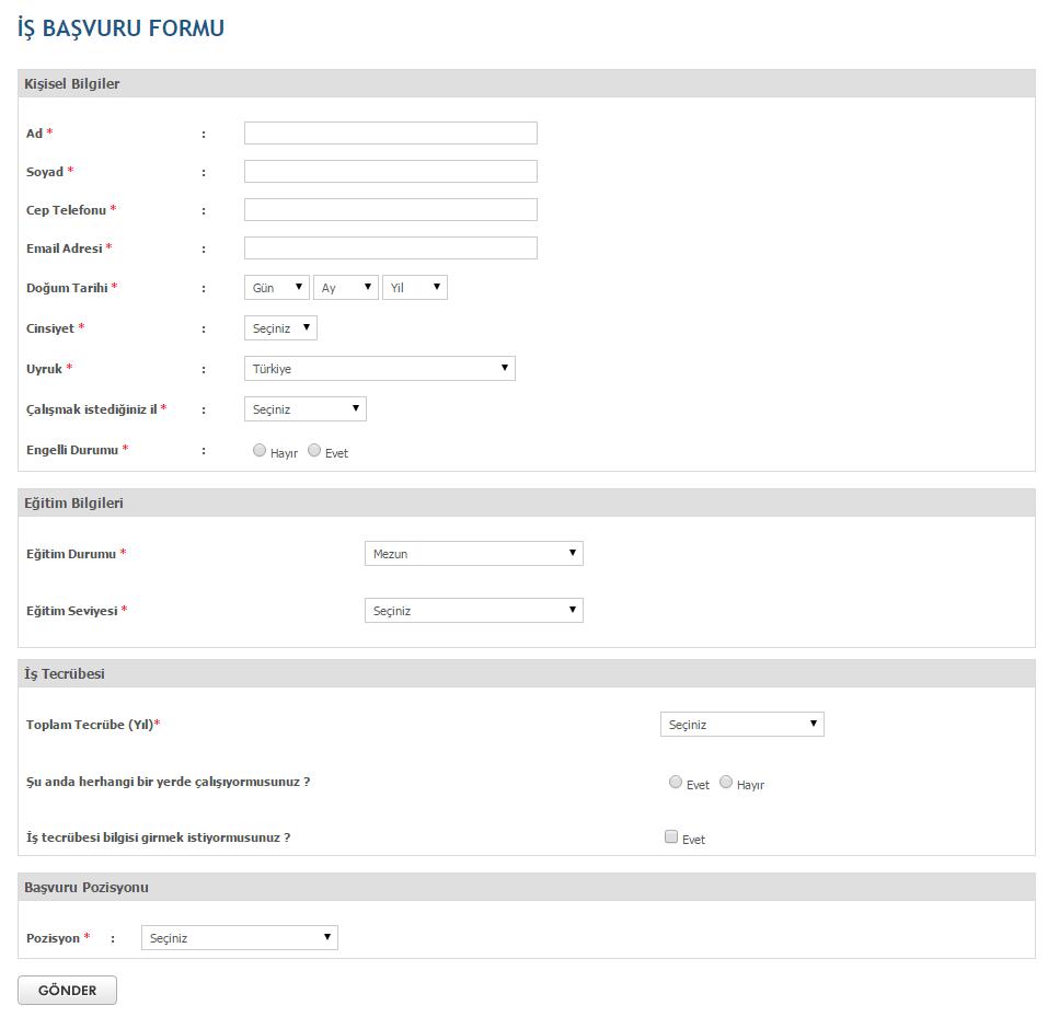bim iş başvuru formu indir pdf