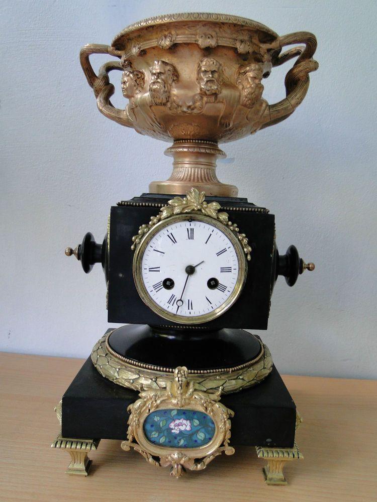 ancienne pendule marbre bronze avec une coupe en cuivre sign s f barbedienne horloge. Black Bedroom Furniture Sets. Home Design Ideas