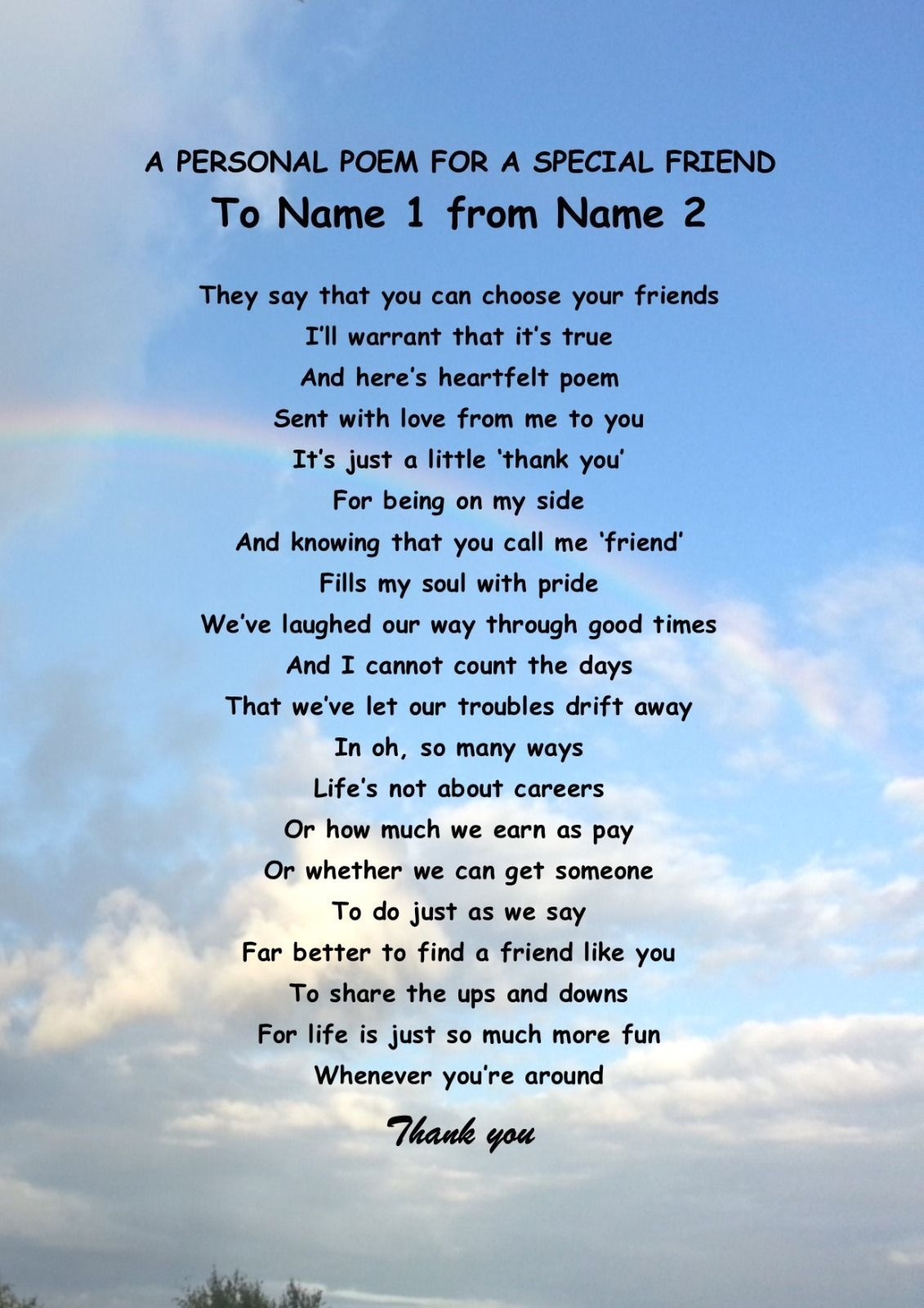 Personalised Poem For A Special Friend
