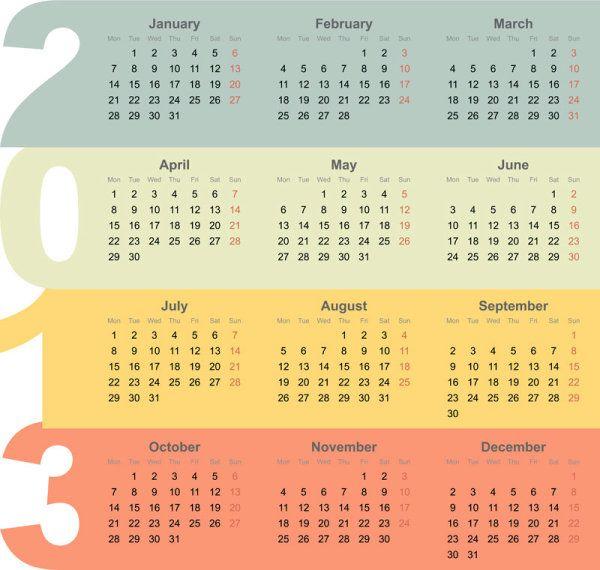 Creative 2013 Calendar Design Art Vector Set 03 Vector Calendar