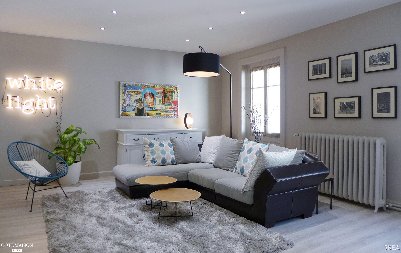53 m2 de pi ce vivre d co au coeur d 39 une maison Deco salon gris et bleu