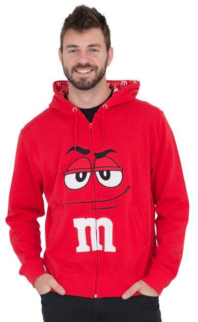 M&M's Zip up Adult Big Face Hoodie Sweatshirt #mamp;mcostumediy