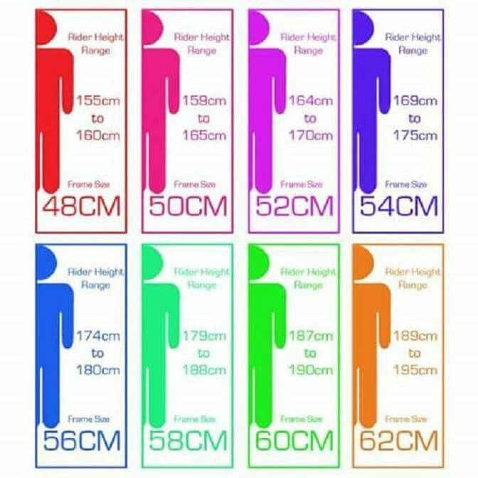 Rider height -- bike frame size chart ... | Miscellaneous ...