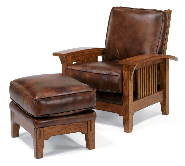 Brown varnished oak wood armchair combined with leather