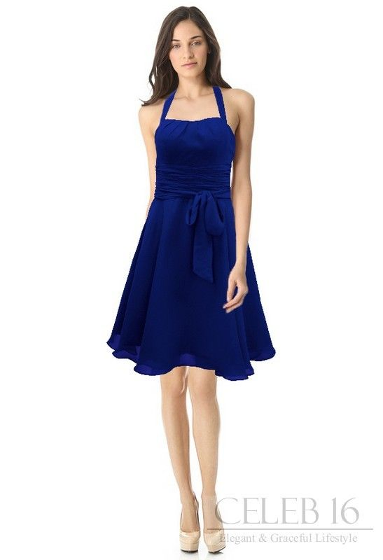 Royal Blue Halter A Line Sash Chiffon Bridesmaid Dress Had332