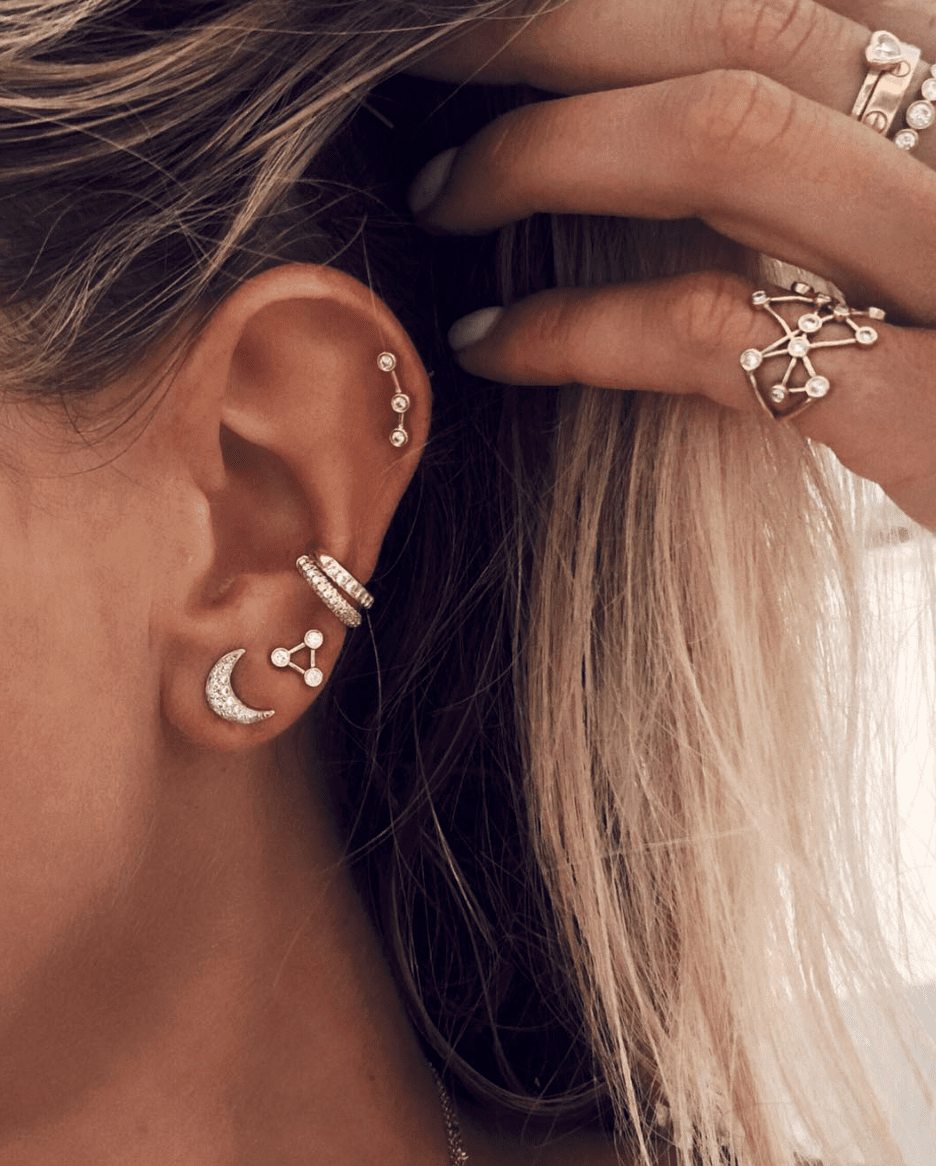 Mini Summer Triangle Diamond Constellation Earrings