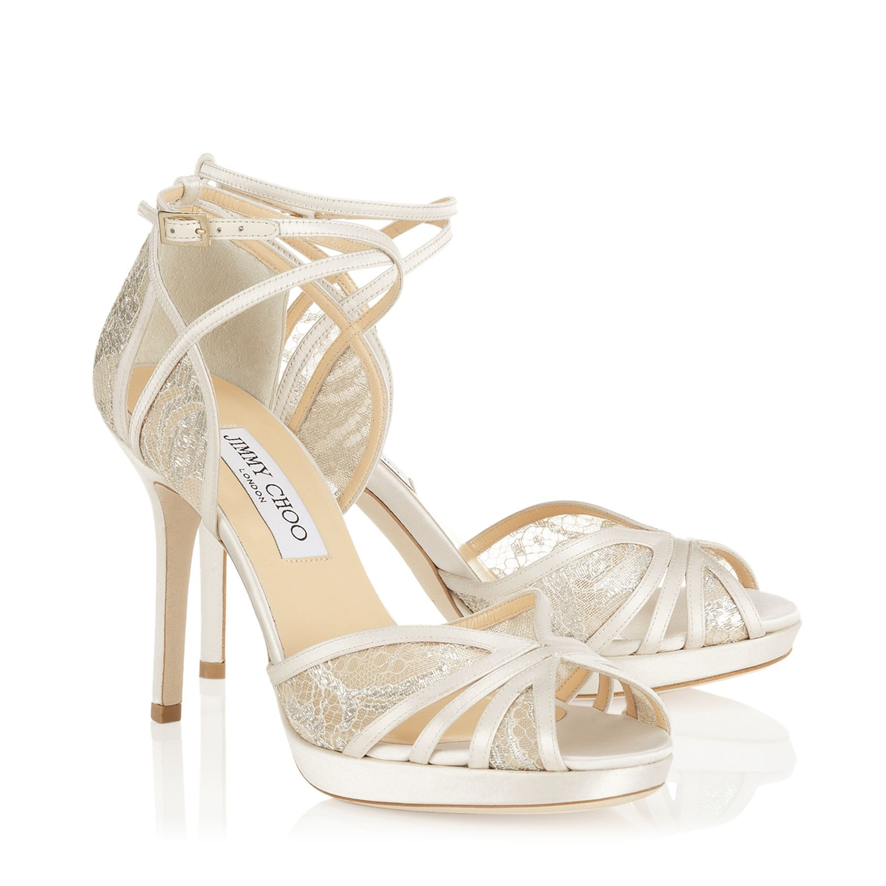 Ivory and White Satin Designer Sandals | Fable | Bridal | JIMMY CHOO Shoes