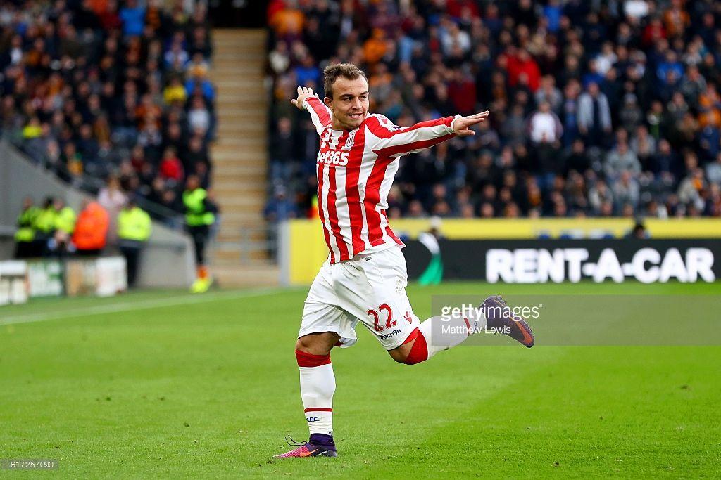 Xherdan Shaqiri Of Stoke City Celebrates Scoring His Team S Second Goal During The Premier League Match Between Hull City A Hull City Stoke City Premier League