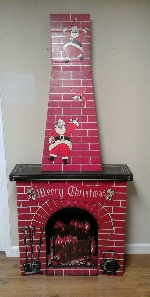 Cardboard Christmas Fireplace.Vintage Cardboard Christmas Fireplace Child Size Toys Inc