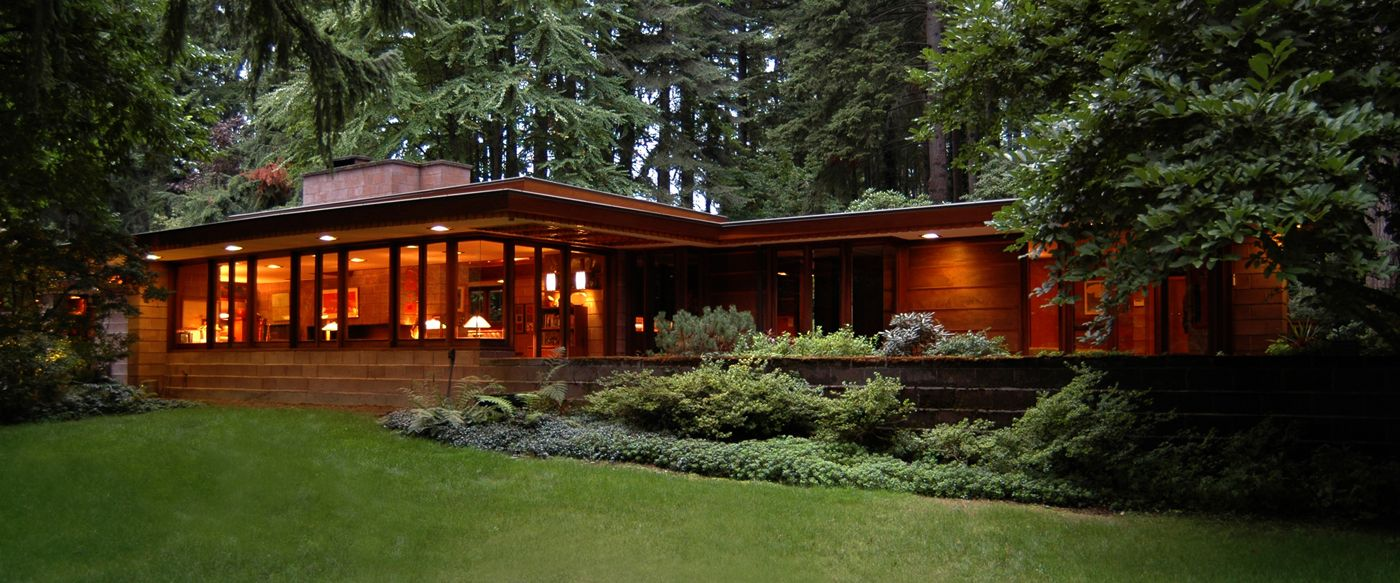 Frank lloyd wright house cullen grassy hill nestling right for Usonian house plans for sale