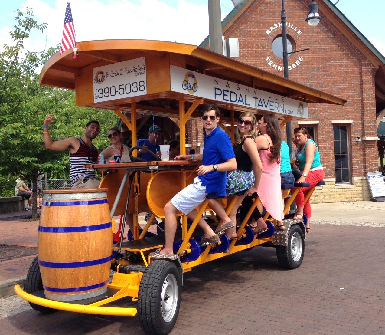 Traveling Peddle Bar Pedal Tavern Free Bikes Among Many Ways To Explore Downtown Nashville Pedal Tavern Nashville Vacation Nashville Trip