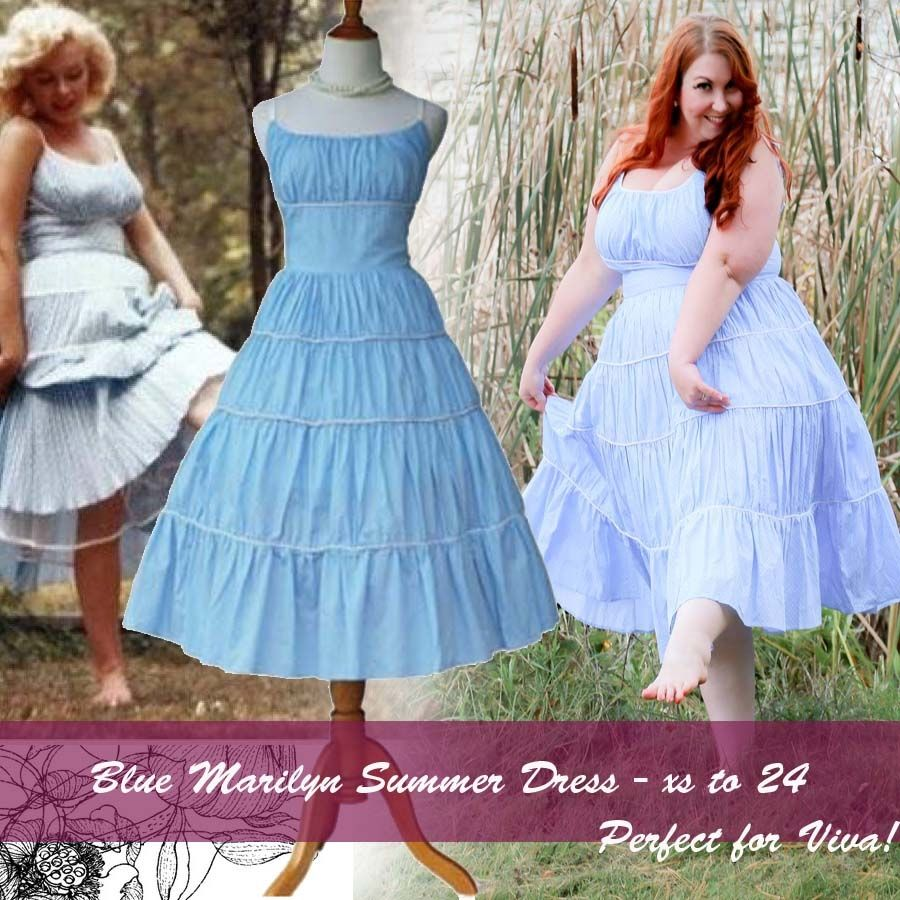 Marilyn Monroe Inspired Baby Blue Summer Dress Great Price And