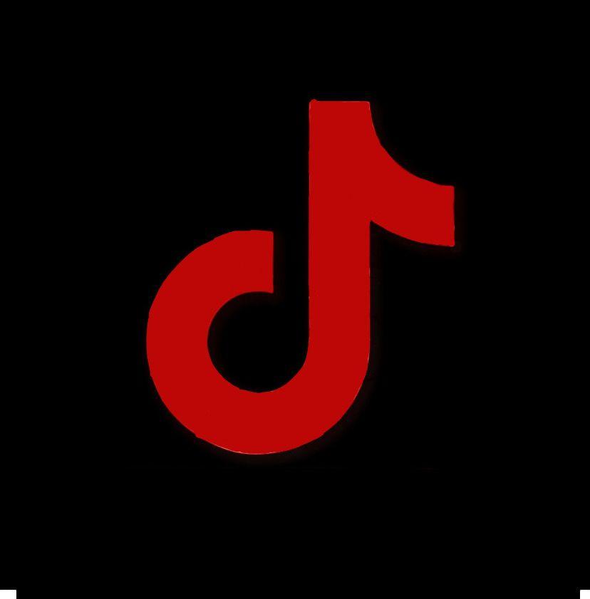 Red Tiktok Logo Mobile App Icon Black App App Icon Design