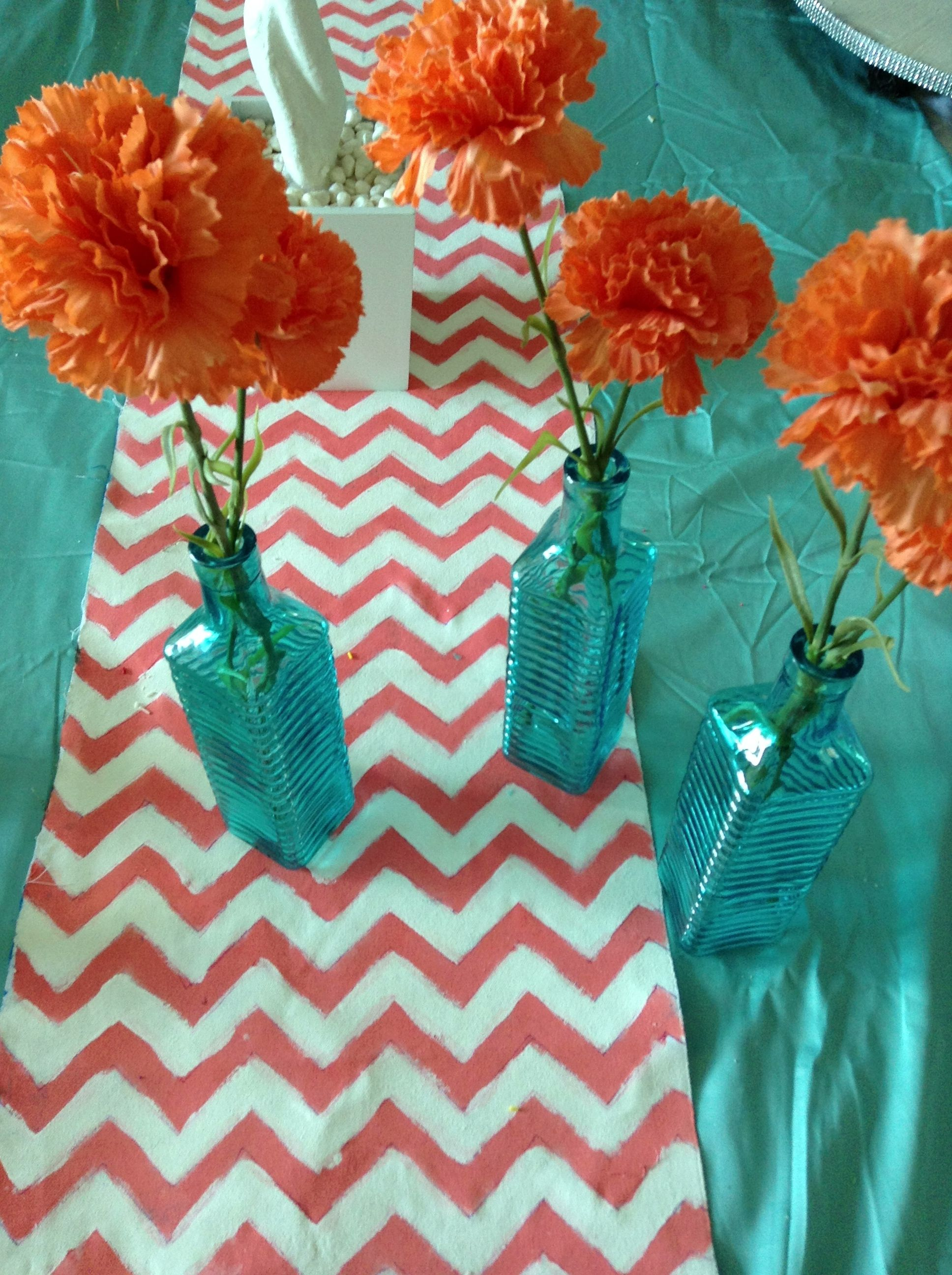 DIY Chevron Coral U0026 Aqua Table Runners With Aqua Vases And Coral Flowers