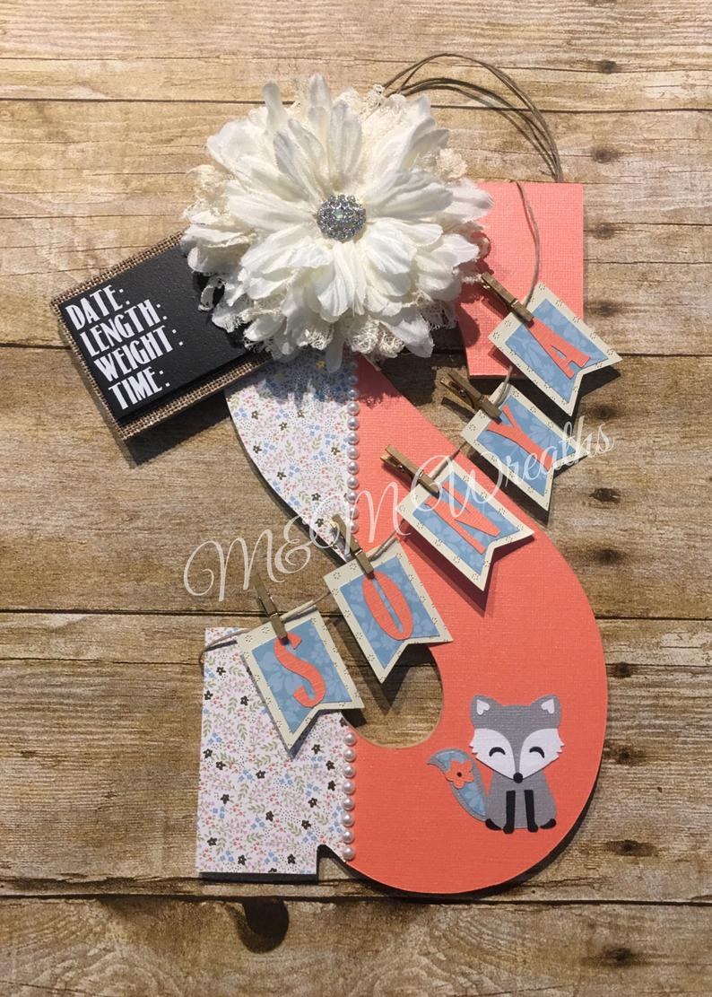 Hospital Door Hanger , Baby girl door hanger , Fox Baby Door Hanger , Kids Door Hanger , customizable, Coral Door Hanger #pictureplacemeant