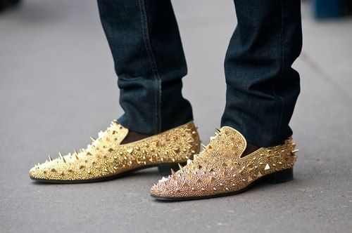 5eb3ae3cba9 Christian Louboutin gold spiked loafers.
