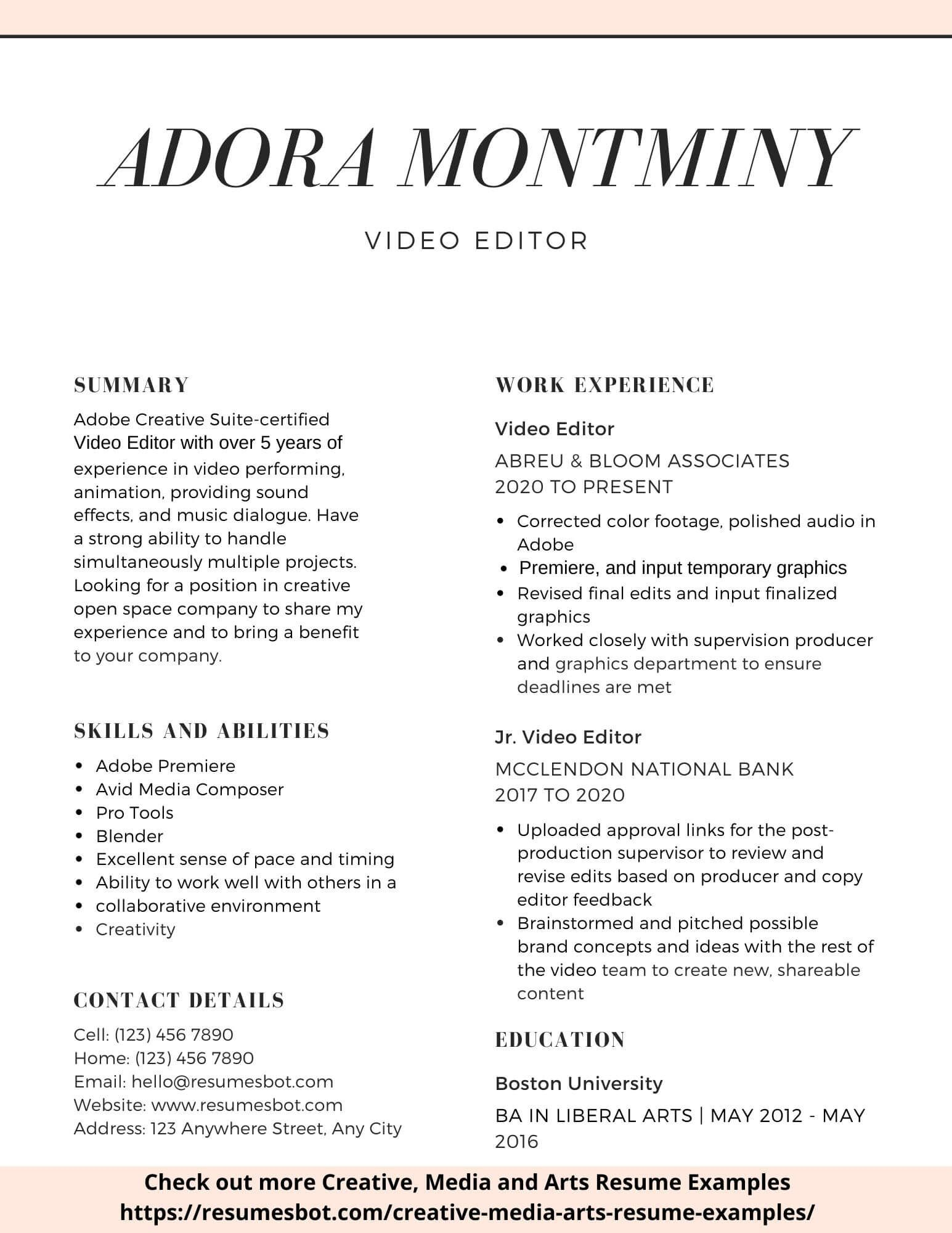 Resume Online Free Editor