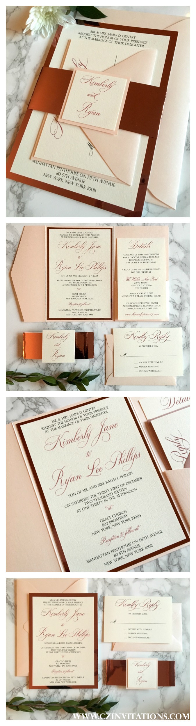 Blush and Rose Gold Mirror Wedding invitation. Comes in both Pocket ...