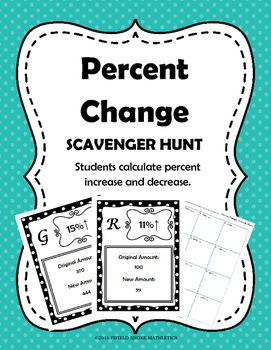 Percent Change Scavenger Hunt 7 Rp 3 With Images Seventh Grade