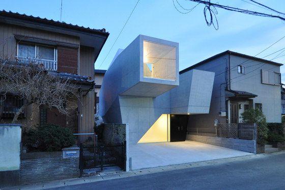 Modern Sculptural concrete japanese house unique design project