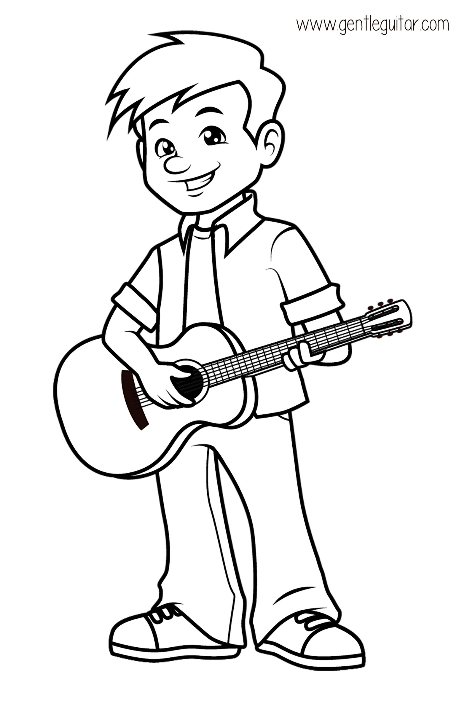 Coloring a boy playing guitar. Coloring prepares children