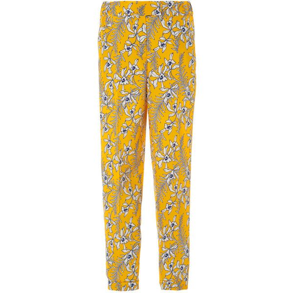 Oscar de la Renta Yellow Silk Printed High Waisted Trousers (69.520 UYU) ❤ liked on Polyvore featuring pants, high-waisted trousers, high waisted pants, floral pants, oscar de la renta and high rise pants