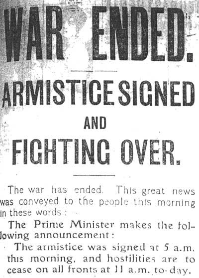 An armistice was signed at the end of the war in 1918 An - master settlement agreement