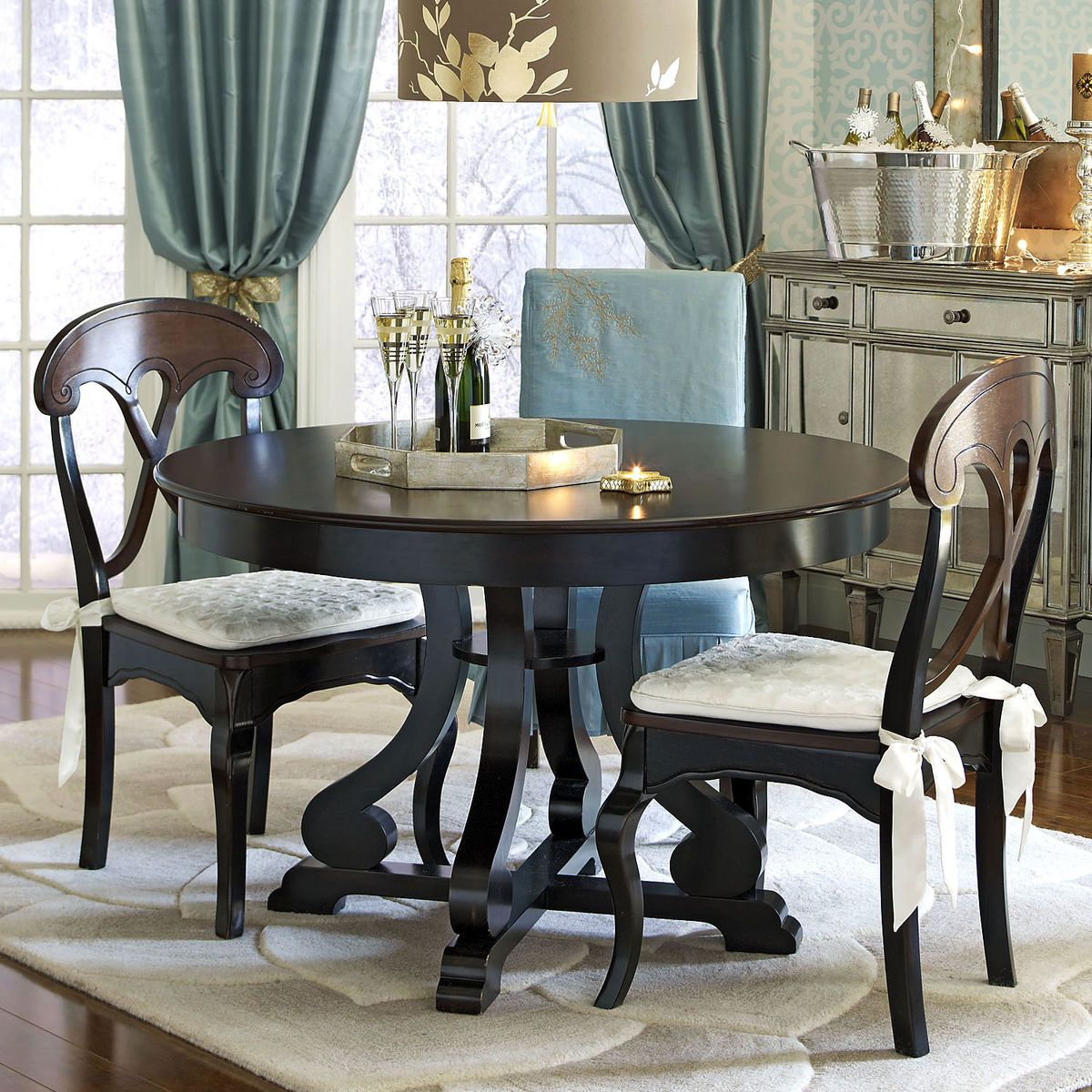 Home Staging Dining Room Table: Marchella Dining Table - Rubbed Black