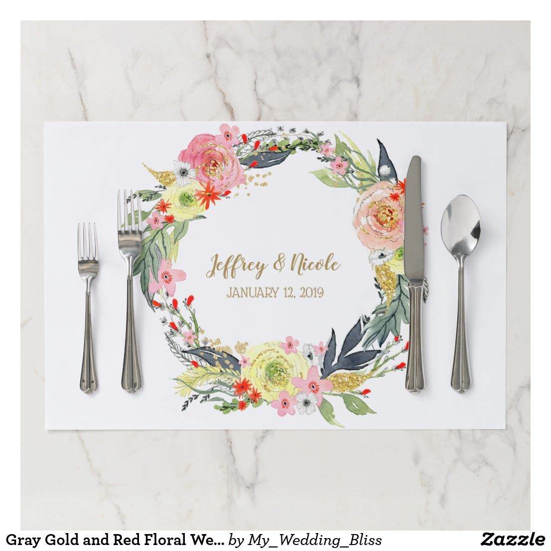 Wedding decorations for reception january 2019 Gray Gold and Red Floral Wedding Reception Dinner Paper Placemat
