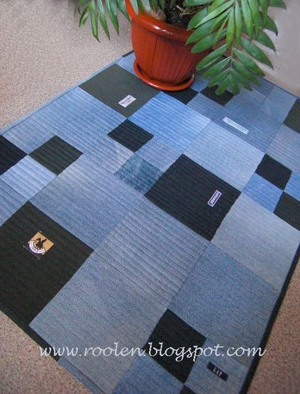 Recycled Denim Rug from Roolen in Volga using squares of denim jeans.