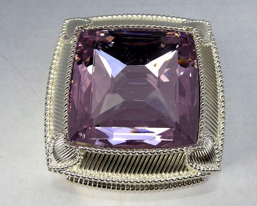 Judith Ripka Textured Silver Anti-Tarnish Jewelry Box in Diamond PINK MORGANITE #JudithRipka