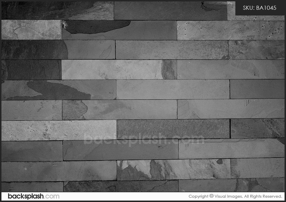 Flat Black Subway Tile Gray Slate Backsplash