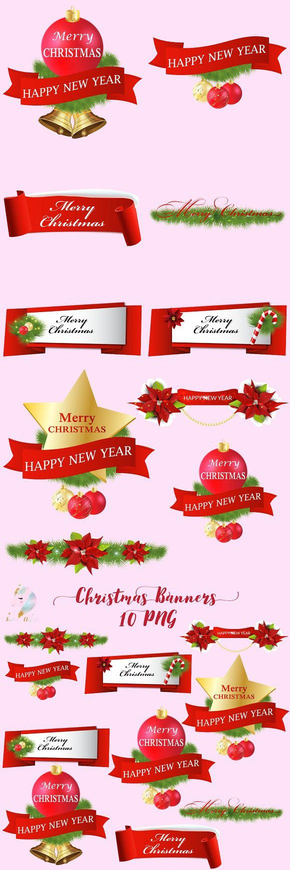 christmas banners clipart [ 580 x 1740 Pixel ]
