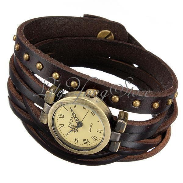 Reloj De Pulsera Mujer Con Cuero Abalorios Brazalete Estilo Vintage Cuarzo Watch Reloj Pulseras Mujer Reloj De Pulsera
