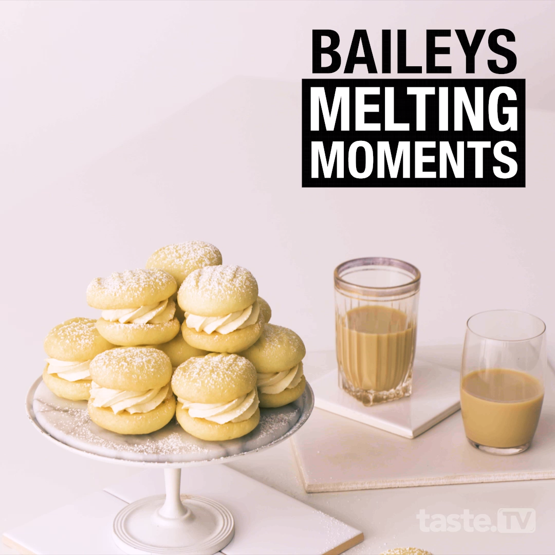 Add Baileys liqueur to a creamy biscuit and you've got a boozy melting-moments recipe to remember. #biscuits #baking #meltingmoments #dessert