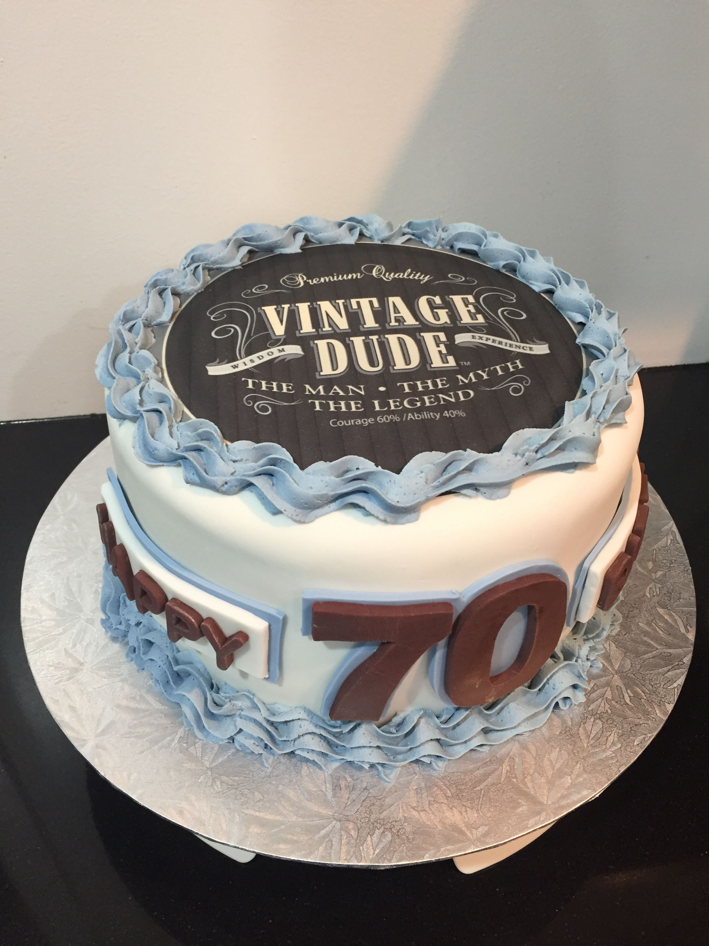 Phenomenal Vintage Dude 70Th Cake With Images 70Th Birthday Cake For Men Personalised Birthday Cards Paralily Jamesorg