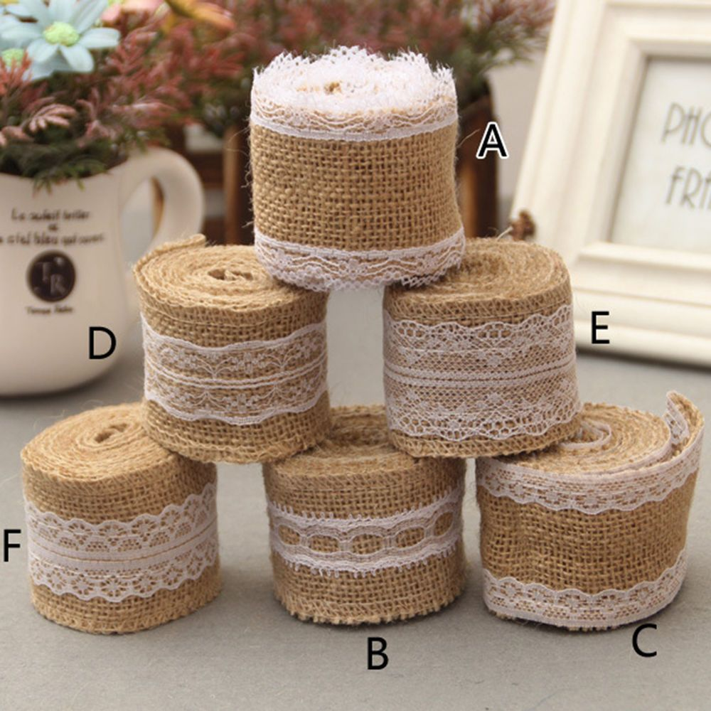 1 Roll Vintage Lace Edged Burlap Ribbon Rustic Wedding Party Crafts Decoration #Unbranded