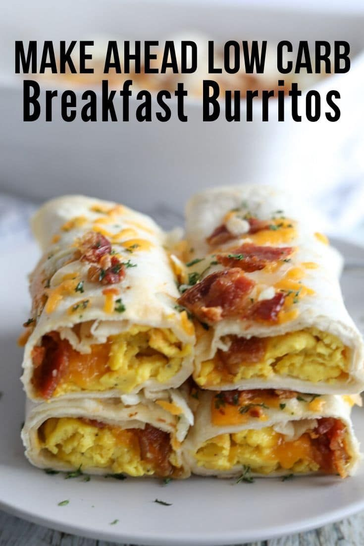 These 'Healthy Low Carb Breakfast Burritos' are my favorite thing to pull out of the fridge in the mornings! They are stuffed with eggs, bacon and cheese and baked until warm and melted through!
