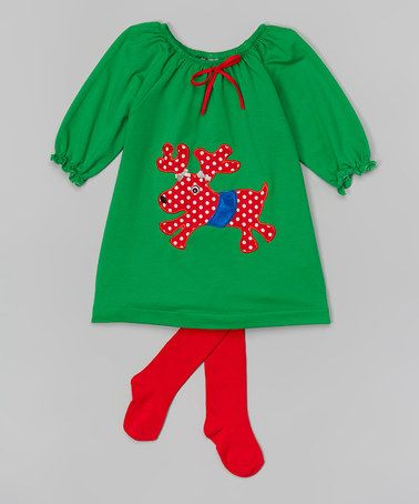 8878866f523 Love this Green Reindeer Appliqué Dress   Tights - Infant   Toddler on   zulily!  zulilyfinds