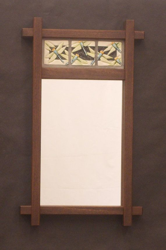Decorative Mirror Arts And Crafts Mission Style Mirror Dragonfly Tiles Walnut Frame Bungalow Craftsman Wedding Ann Mirror Decor Decor Craftsman Mirrors