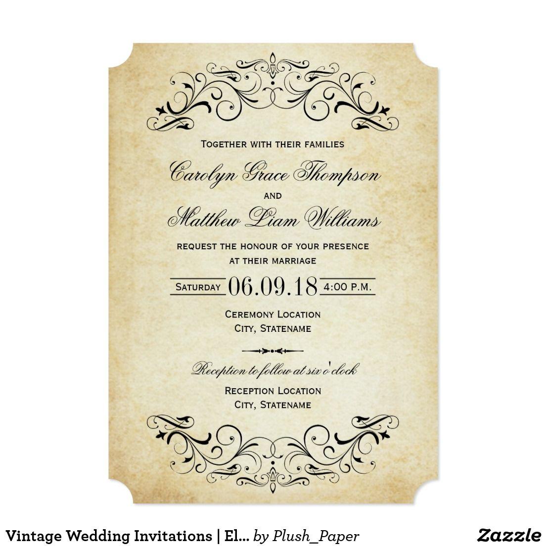 Vintage Wedding Invitations Elegant Flourish Decorative Swirls And Flourishes Frame This Inspired Invitation Design: Vintage Flourish Wedding Invitations Diy At Reisefeber.org